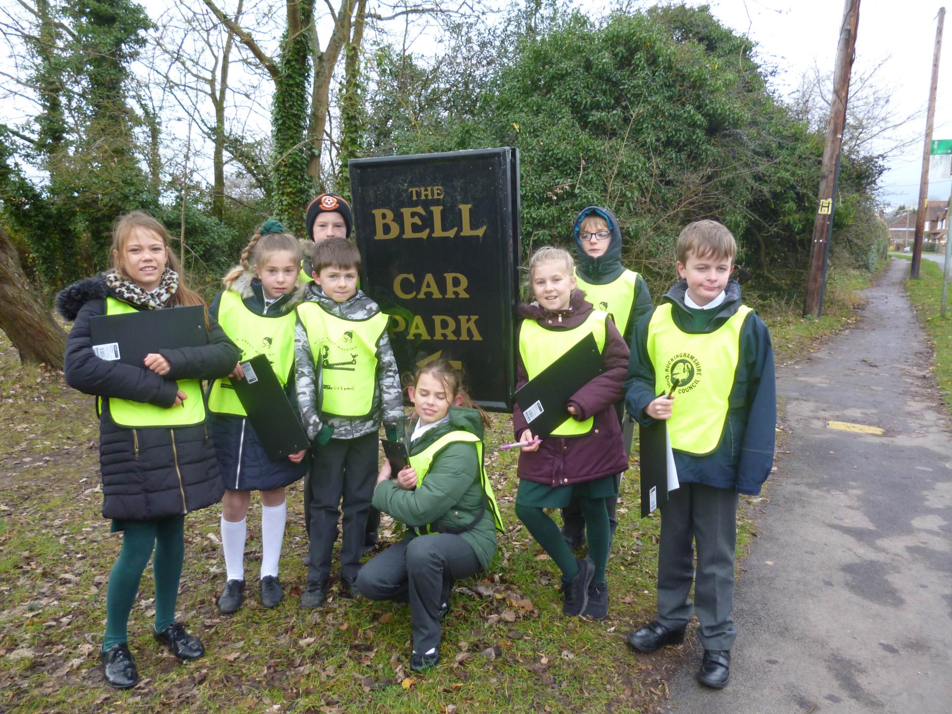 Some of our Junior Road Safety Officers auditing the walking route.